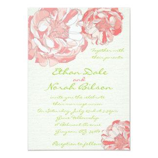 """Peonies rosados y coralinos que casan la invitación 5"""" x 7"""""""