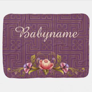Peonies rosados y estilo pintado Tole púrpura del Mantita Para Bebé