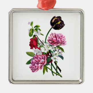 Peonies, Rose and Tulip Bouquet by Prevost Metal Ornament
