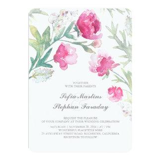 Peonies Watercolor Vintage Bouquet Wedding Card