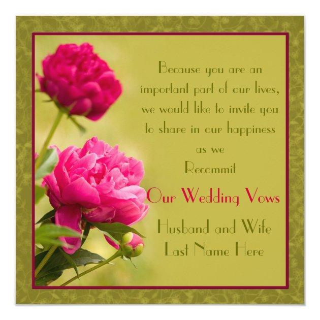 Peonies Wedding Renewal Card Zazzle
