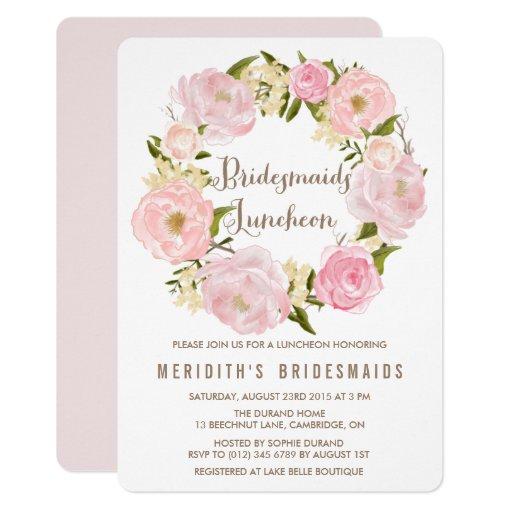 Peonies Wreath Bridesmaids Luncheon Invitation   Zazzle