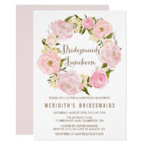 Peonies Wreath Bridesmaids Luncheon Invitation