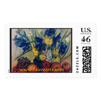 Peonies www FauveArts com Postage Stamps