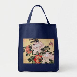 Peonies y mariposa Hokusai Bolsas
