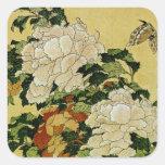Peonies y mariposa pegatinas cuadradas personalizadas