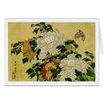 Peonies y mariposa tarjeta de felicitación