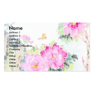 Peonies y mariposas diseño de la pintura china tarjeta de negocio