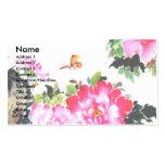 Peonies y mariposas/diseño de la pintura china plantilla de tarjeta de negocio