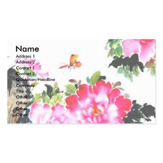 Peonies y mariposas diseño de la pintura china plantilla de tarjeta de negocio