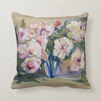 Peons in a blue vase throw pillow