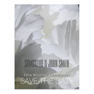 Peony 10th Wedding Anniversary Save the Date 1 Postcard