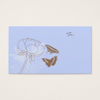 Peony and Brown Butterflies Gift Tags