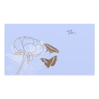 Peony and Brown Butterflies Gift Tags Business Card