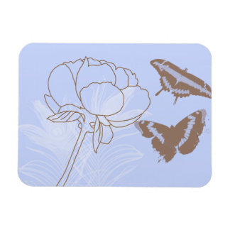 Peony and Brown Butterflies Rectangular Photo Magnet