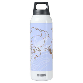Peony and Brown Butterflies 16 Oz Insulated SIGG Thermos Water Bottle