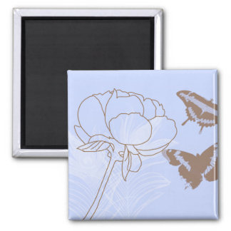 Peony and Butterflies Magnet
