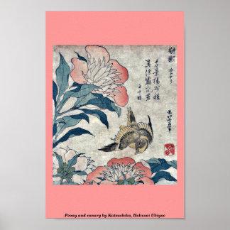 Peony and canary by Katsushika, Hokusai Ukiyoe Print