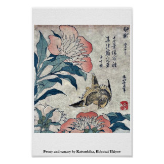 Peony and canary by Katsushika, Hokusai Ukiyoe Poster