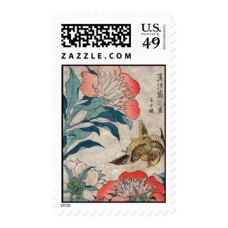 Peony and Canary, Hokusai Stamp