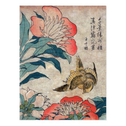 Peony and Canary, Hokusai Postcard