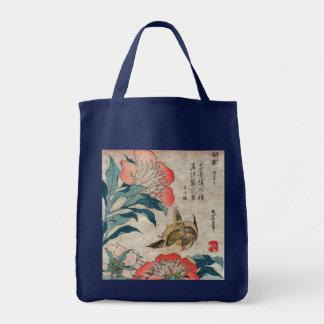 Peony and Canary, Hokusai Tote Bag