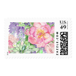 Peony and Succulent Wedding Stamp