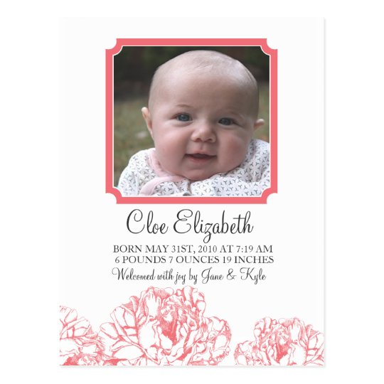 Peony Baby Announcement Postcard