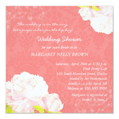 Peony Blooms + Coral Reef Damask Bridal Shower Card at Zazzle