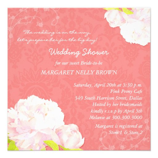 Peony Blooms + Coral Reef Damask Bridal Shower Personalized Announcement