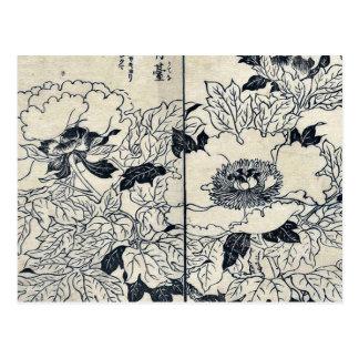 Peony blossoms by Tachibana, Yasukuni Ukiyoe Post Cards