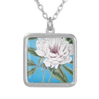 Peony Blue Square Pendant Necklace