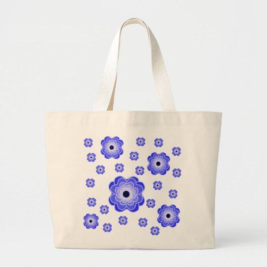 Peony Blue Pattern Large Tote Bag