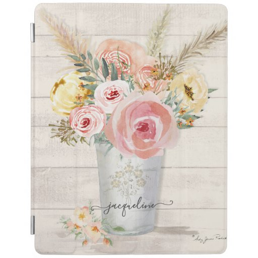Peony Blush Boho Floral Watercolor Rustic Wood iPad Smart Cover