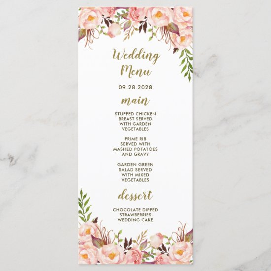 Peony Blush Pink and Gold Wedding Menu Cards