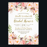 "Peony Blush Pink Gold Bridal Shower Invitations<br><div class=""desc"">Peony Blush Pink Gold Bridal Shower Invitations - features a beautiful text layout of printed gold and bronze decorated with peonies,  roses and greenery.</div>"