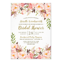Peony Blush Pink Gold Bridal Shower Invitations