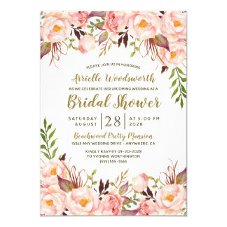 Peony Blush Pink Gold Bridal Shower Invitations