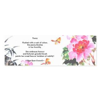 Peony Bookmark/Poetry by Skye Ryan-Evans Business Cards