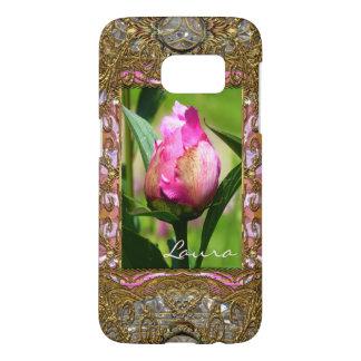 Peony Bud Elegant Floral Monogram Samsung Galaxy S7 Case