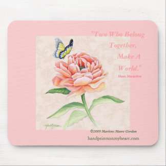 Peony & Butterfly Mousepad