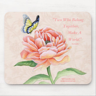 Peony & Butterfly Mousepad Two Together