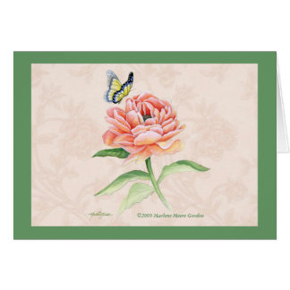 Peony & Butterfly Thank You Note Card