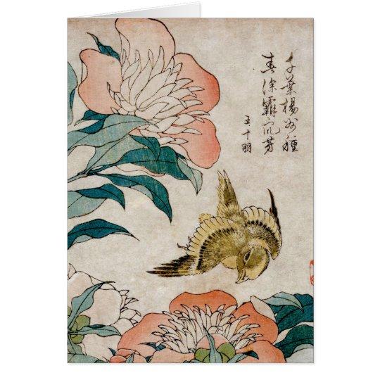 Peony & Canary - Japanese Art Blank Card