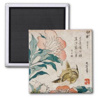 Peony & Canary - Japanese Art Magnet