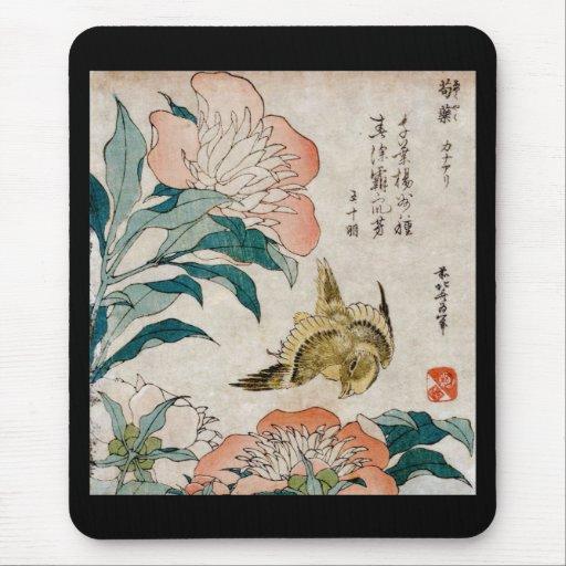 Peony & Canary - Japanese Art Mouse Pad