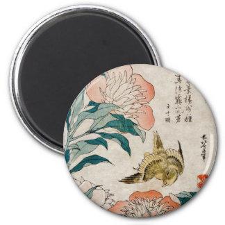 Peony & Canary - Japanese Art Round Magnet