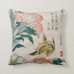 Peony & Canary Oriental Watercolor Throw Pillow