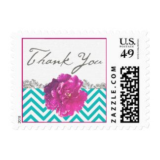 Peony Chevron Wedding Thank You Stamp