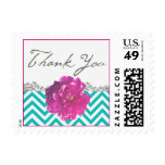 Peony Chevron Wedding Thank You Stamp